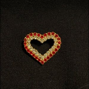 Vintage Red Rhinestone Heart Brooch by: BAUER